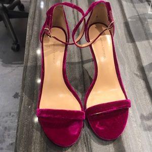 Velvet heeled open toe shoes